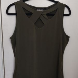 Olive Green Sleeveless Detailed Top